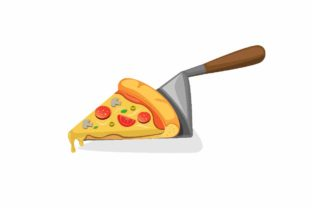 Download Free Slice Pizza On Spatula In Cartoon Flat Graphic By Aryo Hadi SVG Cut Files