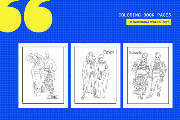 Print on Demand: 15 World Costumes Colouring Pages Graphic Coloring Pages & Books By yumbeehomeschool