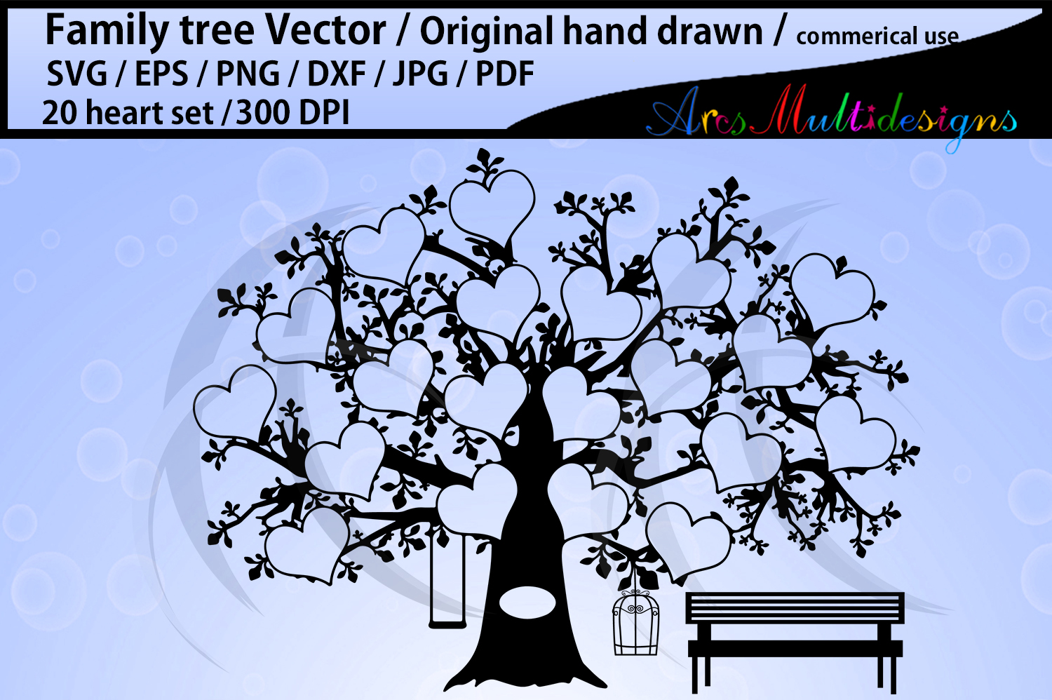 Download Free 20 Heart Family Tree 20 Names Grafik Von Arcs Multidesigns for Cricut Explore, Silhouette and other cutting machines.