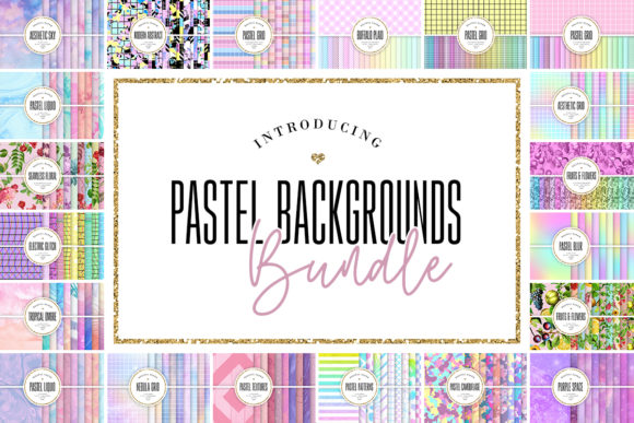 Print on Demand: 240 Pastel Backgrounds Bundle  By Sabina Leja
