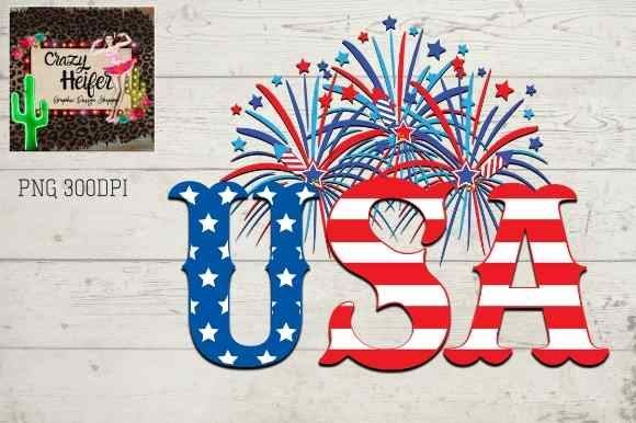 Print on Demand: 4th of July USA Patriotic Fireworks Fami Graphic Illustrations By Crazy Heifer Design Shoppe