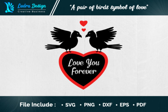 Download Free A Pair Of Birds Symbol Of Love Graphic By Ludradesignmaker for Cricut Explore, Silhouette and other cutting machines.