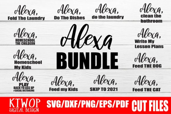 Print on Demand: Alexa Funny 12 Designs Bundle Graphic Crafts By Mr.pagman