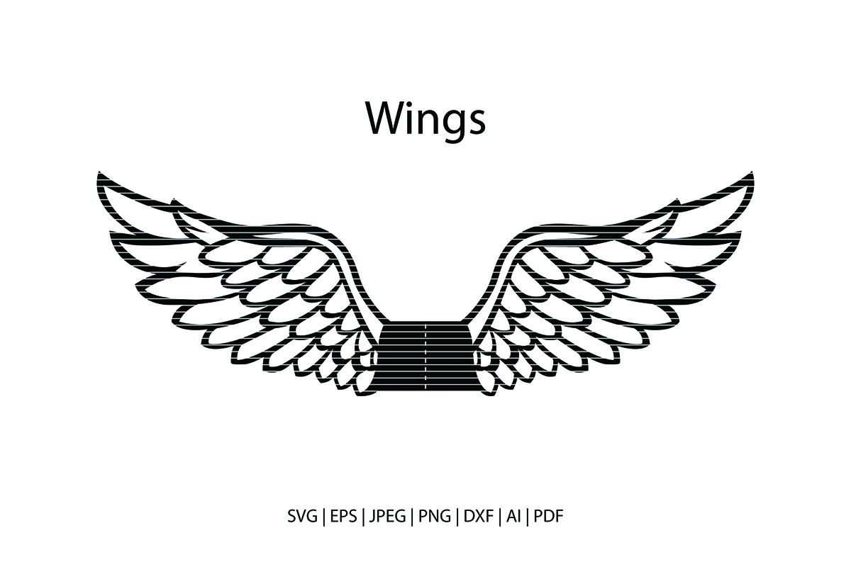 Download Free Angel Wings Cut File Graphic By Meshaarts Creative Fabrica for Cricut Explore, Silhouette and other cutting machines.