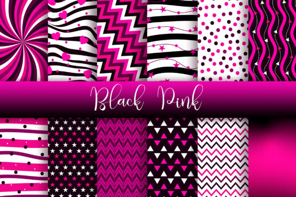 Black Pink Digital Papers Graphic Backgrounds By PinkPearly - Image 1