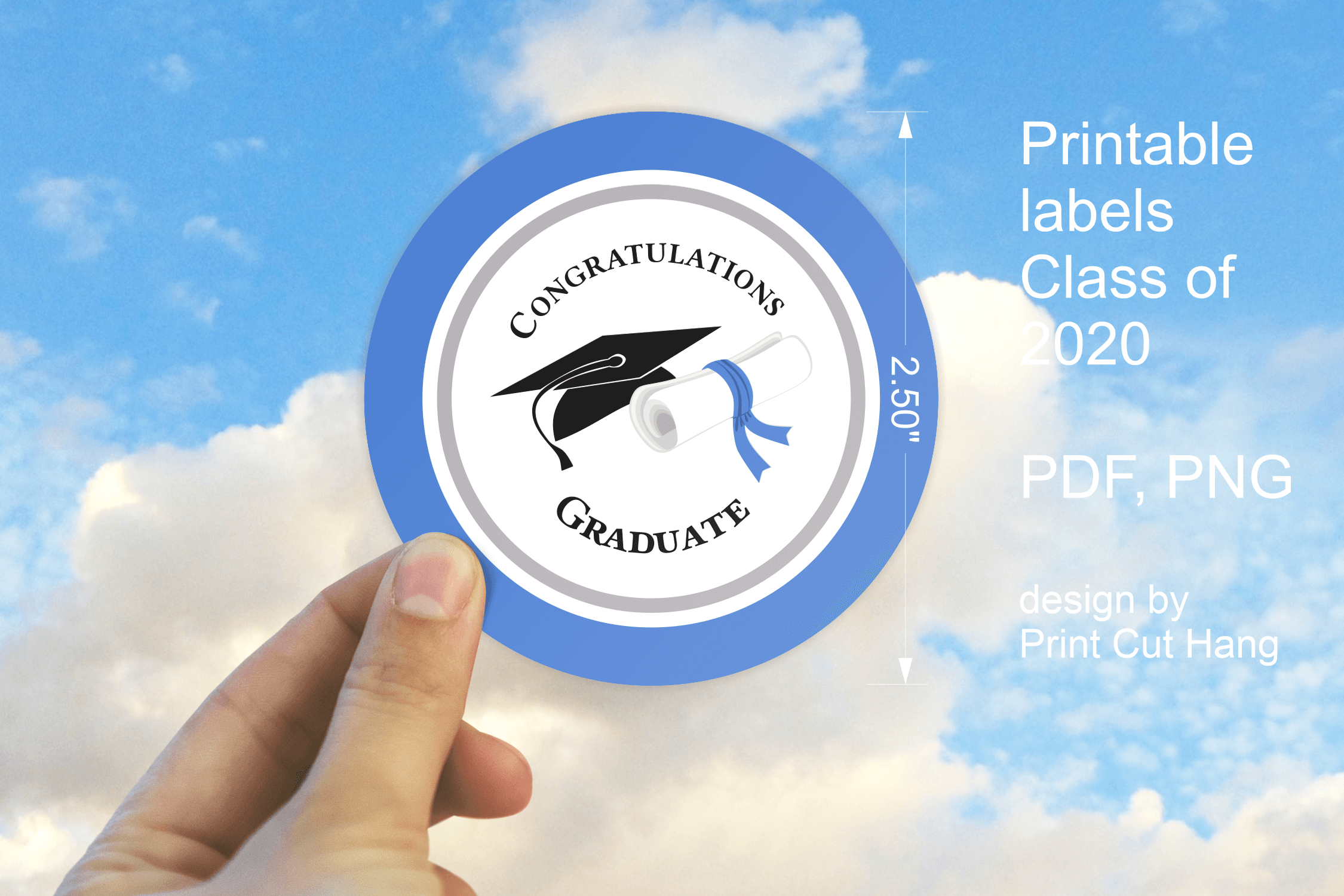 Download Free Blue Graduation 2020 Stickers Graphic By Print Cut Hang for Cricut Explore, Silhouette and other cutting machines.