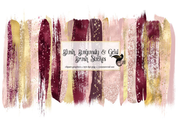 Print on Demand: Blush Burgundy and Gold Brush Strokes Graphic Illustrations By Digital Curio