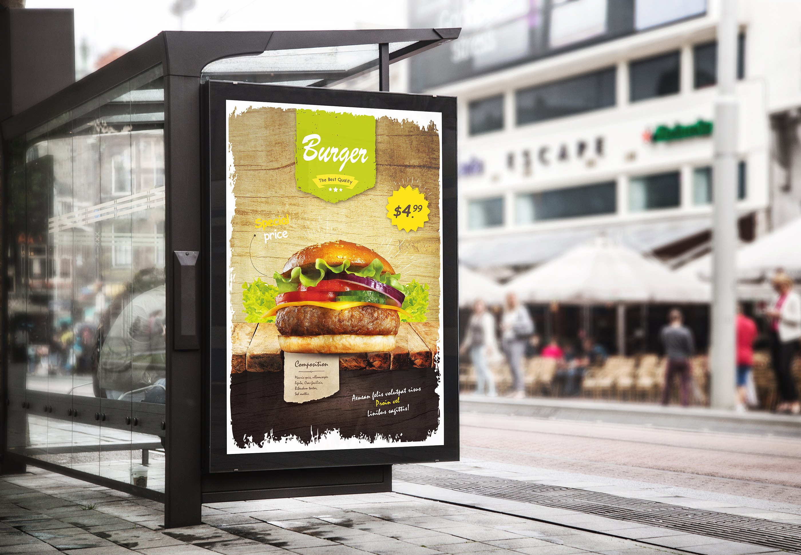 Download Free Burger Restaurant Flyer Template Graphic By Shapshapy Creative for Cricut Explore, Silhouette and other cutting machines.