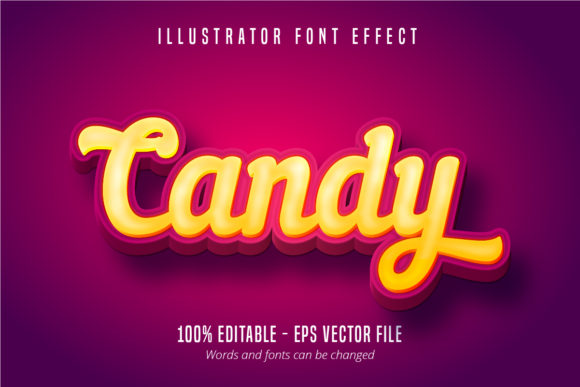 Print on Demand: Candy Text, 3D Editable Font Effect Graphic Graphic Templates By Mustafa Bekşen