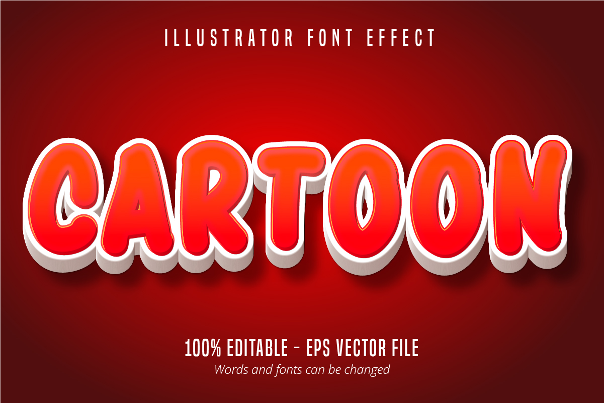 Download Free Cartoon Text 3d Editable Font Effect Graphic By Mustafa Beksen for Cricut Explore, Silhouette and other cutting machines.
