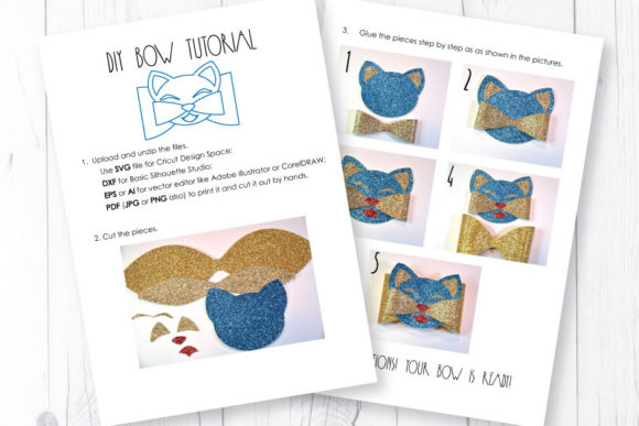 Download Free Cat Bow Template Graphic By Articuties Creative Fabrica for Cricut Explore, Silhouette and other cutting machines.