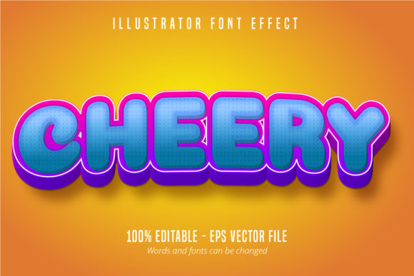 Print on Demand: Cheery Text, 3D Editable Font Effect Graphic Graphic Templates By Mustafa Bekşen