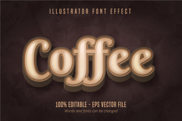 Print on Demand: Coffee Text, 3D Editable Font Effect Graphic Graphic Templates By Mustafa Bekşen