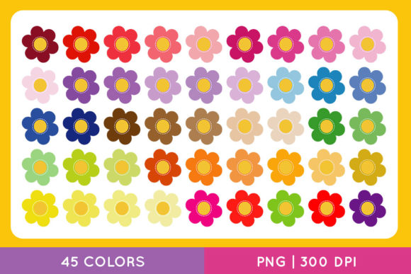 Colorful Flowers Clip Art Set, Spring Graphic Illustrations By TitaTips