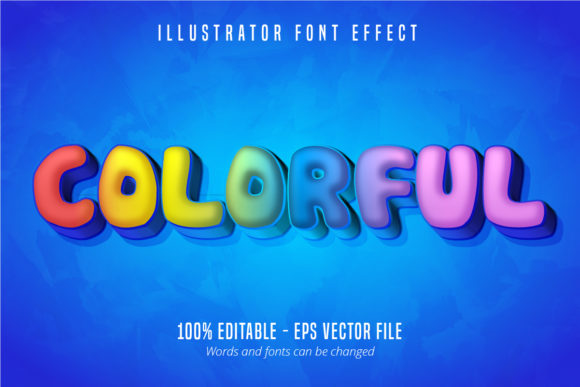 Print on Demand: Colorful Text Effect, Editable Text Graphic Graphic Templates By Mustafa Bekşen