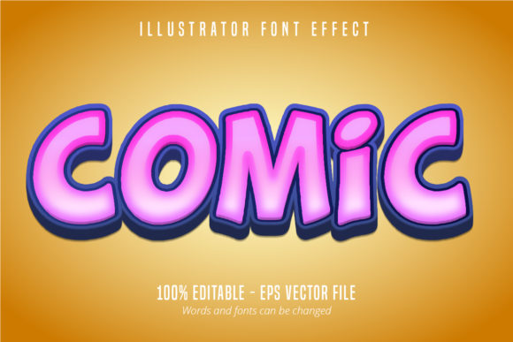 Print on Demand: Comic Text, 3D Editable Font Effect Graphic Graphic Templates By Mustafa Bekşen