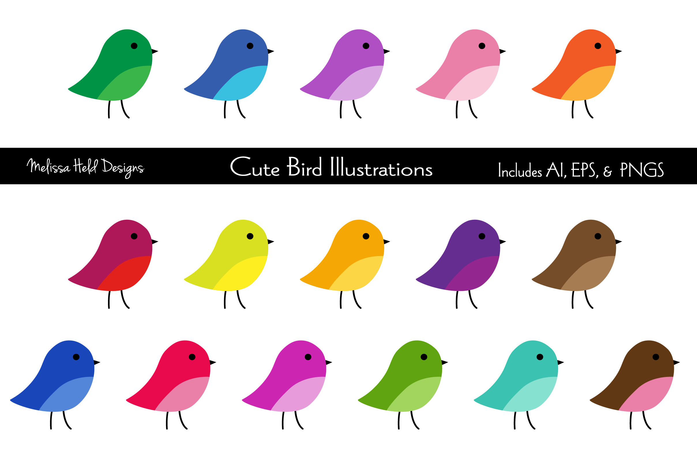 Download Free Cute Birds Clipart Graphics Graphic By Melissa Held Designs for Cricut Explore, Silhouette and other cutting machines.