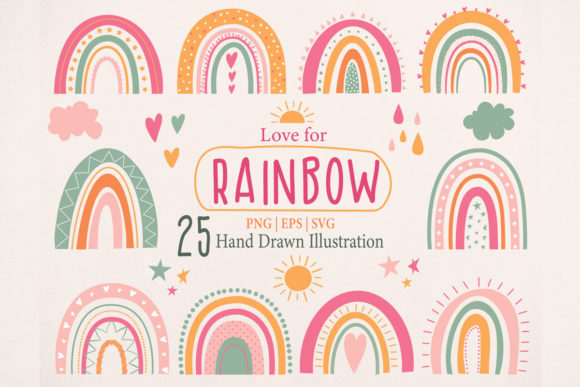 Download Free Cute Rainbow Illustration Clipart Set Graphic By Essentiallynomadic Creative Fabrica for Cricut Explore, Silhouette and other cutting machines.