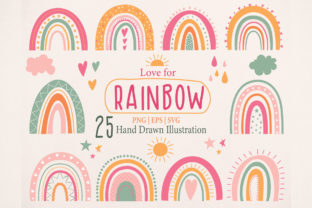 Cute Rainbow Illustration Clipart Set Graphic By Essentiallynomadic Creative Fabrica