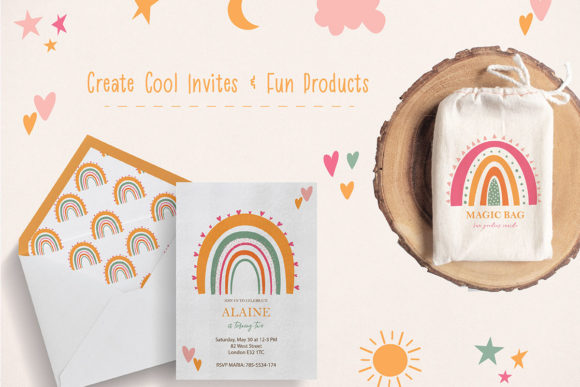 Download Free Cute Rainbow Illustration Clipart Set Graphic By SVG Cut Files