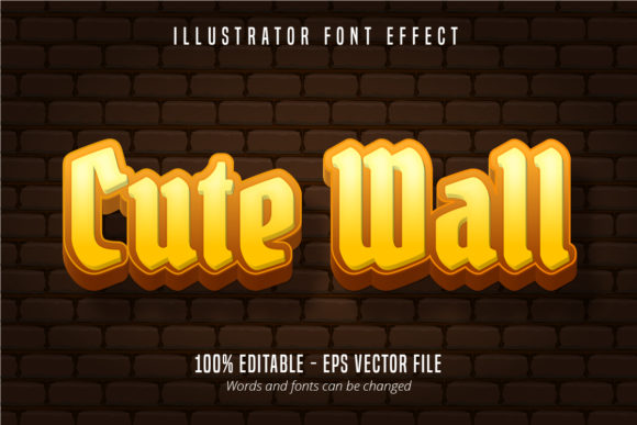 Download Free Cute Wall Text 3d Editable Font Effect Graphic By Mustafa for Cricut Explore, Silhouette and other cutting machines.