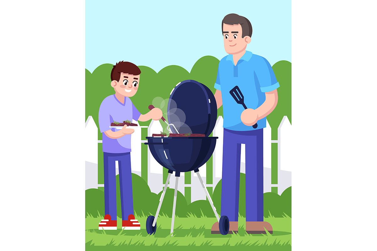 Download Free Daddy And Son Cooking Barbecue Outside Graphic By Bsd Studio for Cricut Explore, Silhouette and other cutting machines.