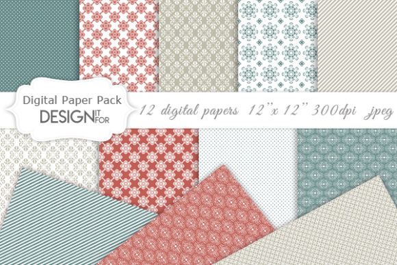 Download Free Damask Digital Paper Pack Textures Graphic By Designitfor for Cricut Explore, Silhouette and other cutting machines.