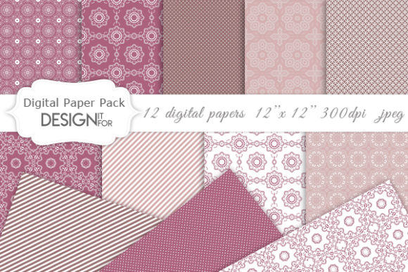Linen Digital Paper Pack Pink Purple Graphic By Designitfor
