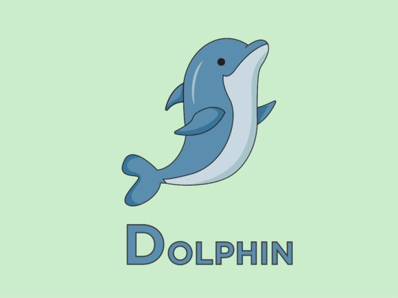 Print on Demand: Dolphin Animal for Alphabet D Graphic Illustrations By doridodesign