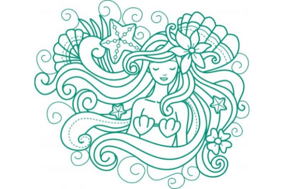 Enchanted Mermaid Cuentos de hadas Diseños de bordado Por Sue O'Very Designs
