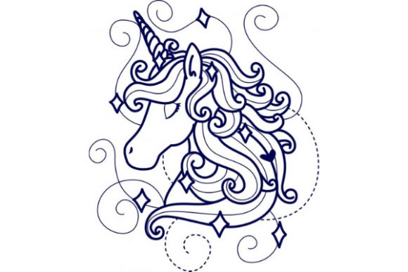 Enchanted Unicorn Märchen Stickdesign von Sue O'Very Designs