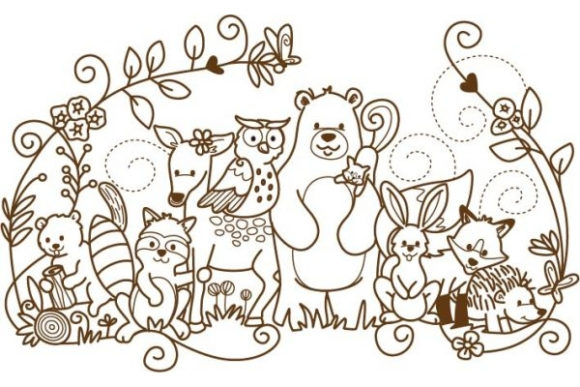 Enchanted Woodland Animals Waldtiere Stickdesign von Sue O'Very Designs