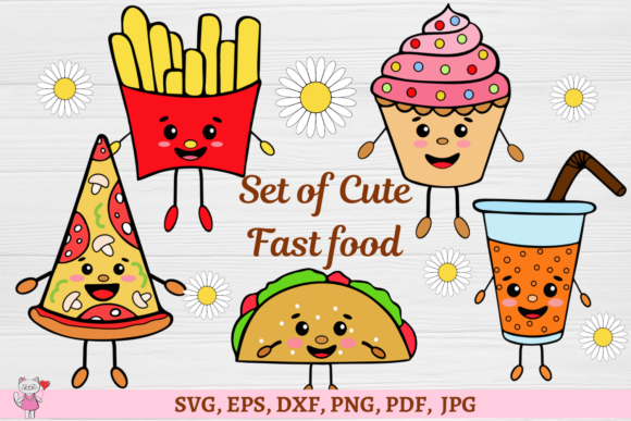 Fast Food Clipart Cute Kawaii Design Graphic By Magic World Of