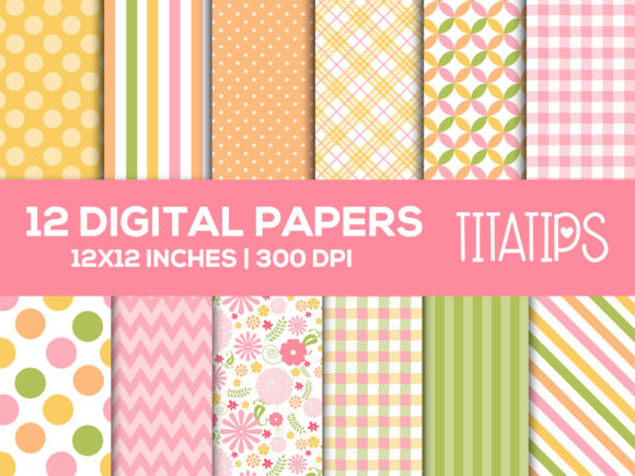 Download Free Floral Digital Paper Set Pastel Colors Graphic By Titatips for Cricut Explore, Silhouette and other cutting machines.