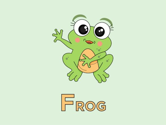 Print on Demand: Frog Animal for Alphabet F Graphic Illustrations By doridodesign