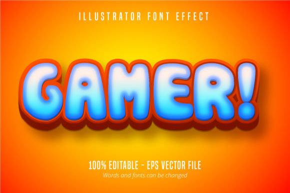 Print on Demand: Gamer Text, 3D Editable Font Effect Graphic Graphic Templates By Mustafa Bekşen