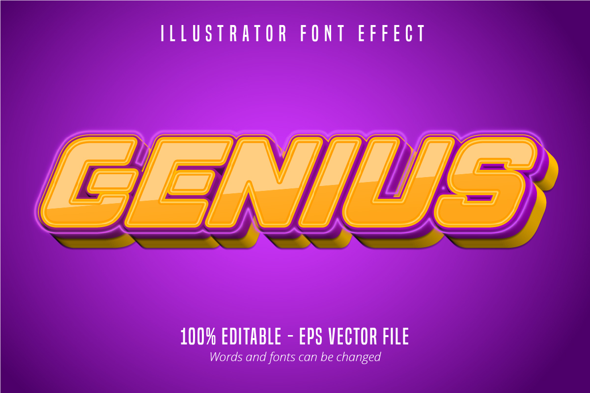 Download Free Genius Text 3d Editable Font Effect Graphic By Mustafa Beksen for Cricut Explore, Silhouette and other cutting machines.