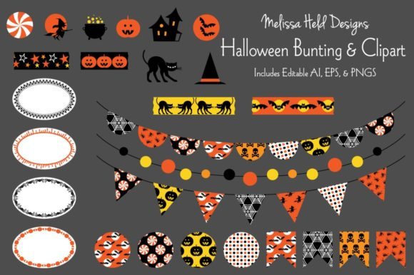 Download Free Halloween Bunting Clipart Graphic By Melissa Held Designs for Cricut Explore, Silhouette and other cutting machines.