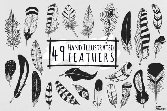 Print on Demand: Hand Illustrated Feathers Graphic Illustrations By YandiDesigns