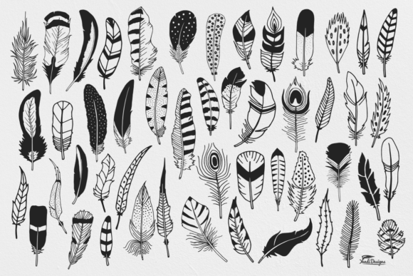 Download Free Hand Illustrated Feathers Graphic By Yandidesigns Creative Fabrica for Cricut Explore, Silhouette and other cutting machines.