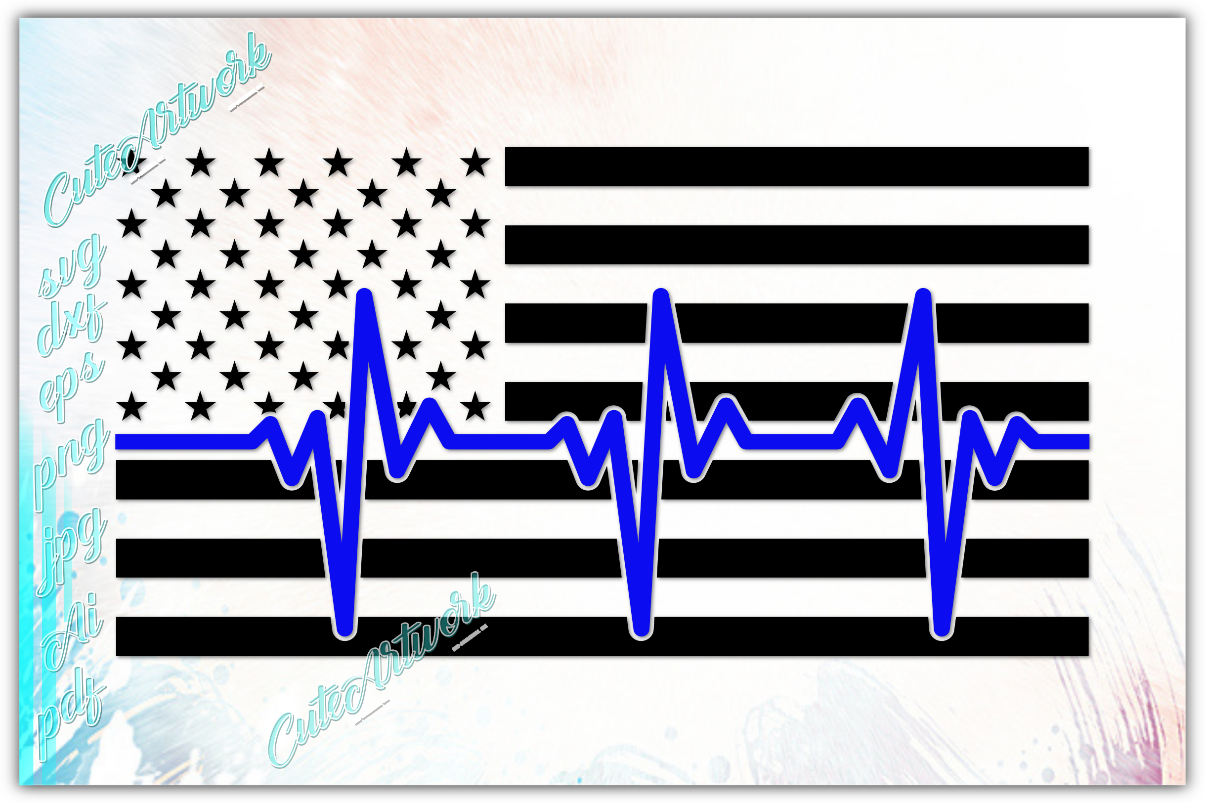 Download Free Heartbeat American Flag Police Graphic By Ezzydesigns for Cricut Explore, Silhouette and other cutting machines.