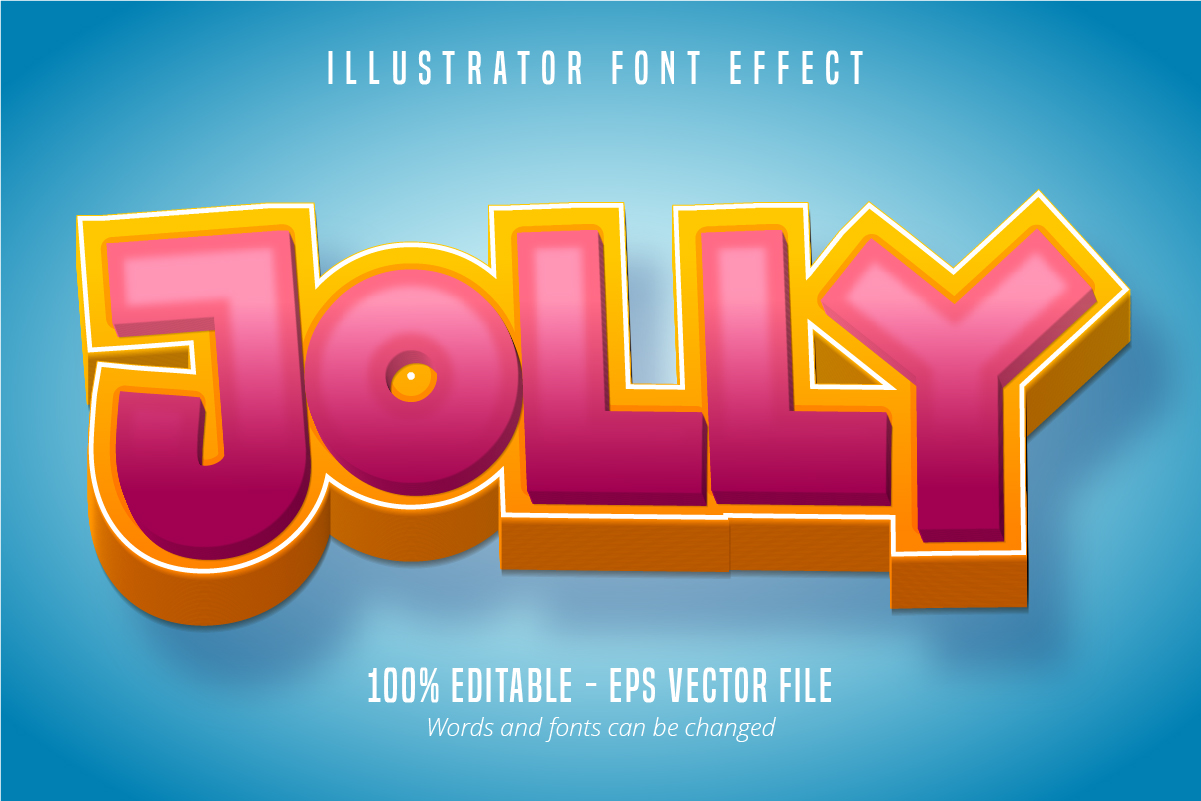 Download Free Jolly Text 3d Editable Font Effect Graphic By Mustafa Beksen for Cricut Explore, Silhouette and other cutting machines.