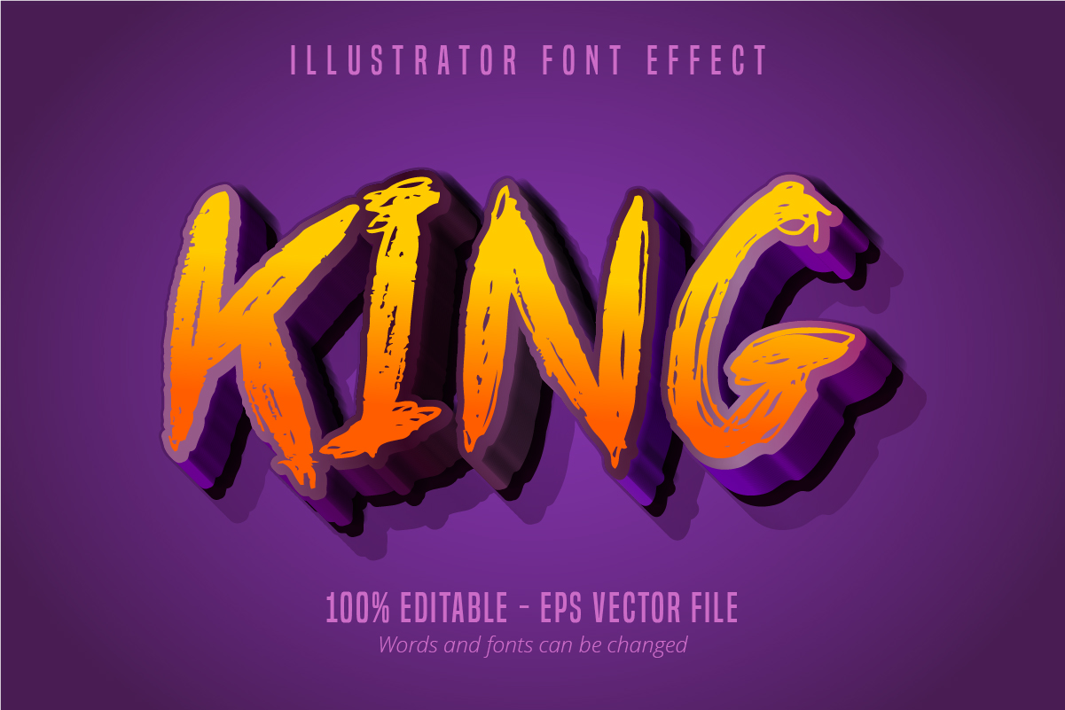 Download Free King Text 3d Editable Font Effect Graphic By Mustafa Beksen for Cricut Explore, Silhouette and other cutting machines.