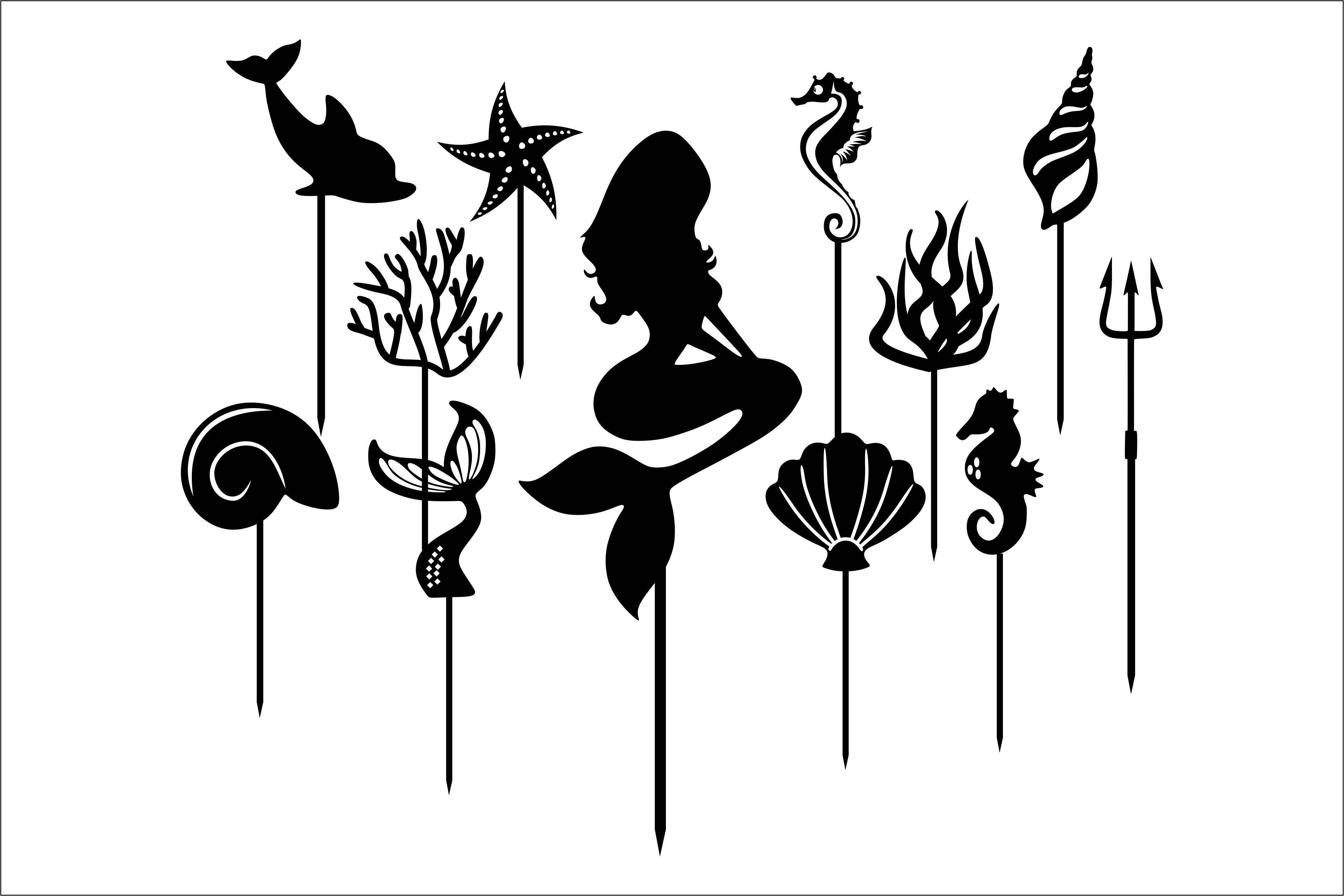 Download Free Mermaid Cake Topper Cut Files Graphic By Fast Store Creative for Cricut Explore, Silhouette and other cutting machines.