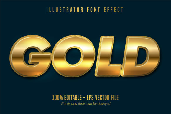 Print on Demand: Metallic Shiny Gold Text Effect Graphic Graphic Templates By Mustafa Bekşen