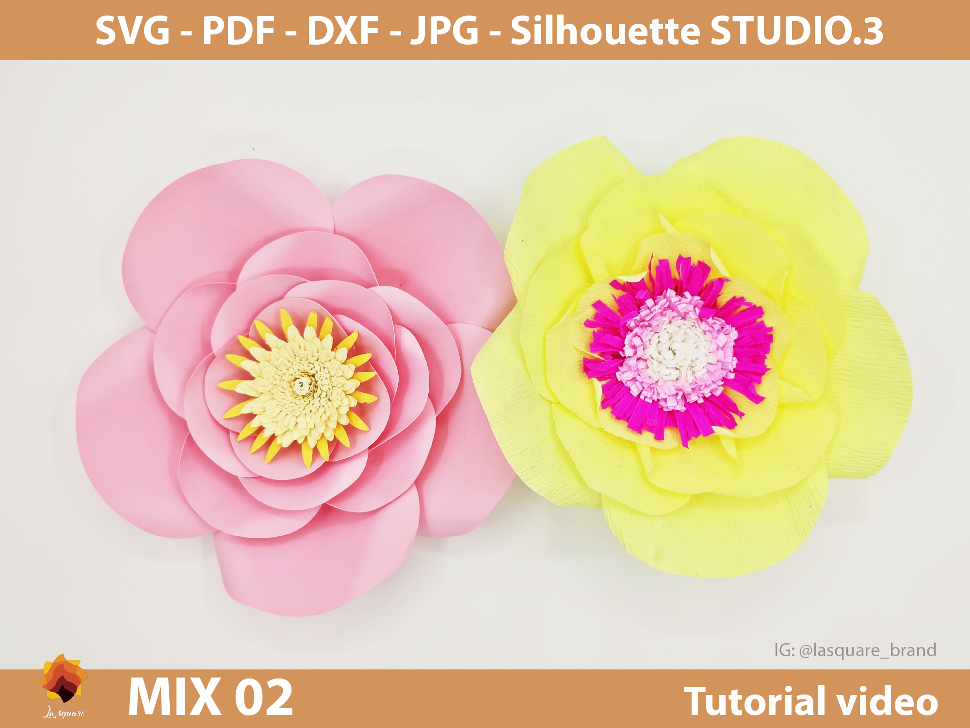 Download Free Mix 02 Giant Paper Flowers Templates Graphic By Lasquare Info for Cricut Explore, Silhouette and other cutting machines.