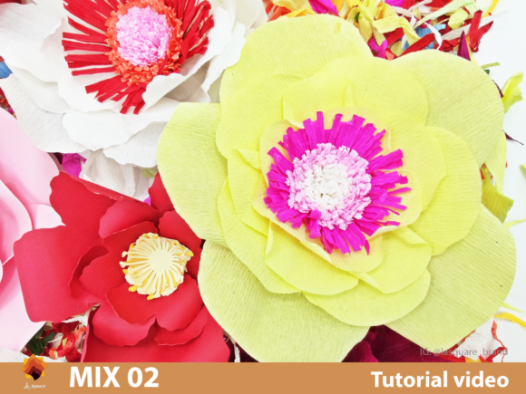 Download Free Mix 02 Giant Paper Flowers Templates Grafik Von Lasquare Info for Cricut Explore, Silhouette and other cutting machines.