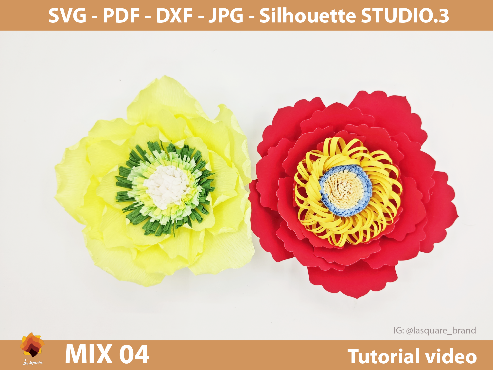 Download Free Mix 04 Paper Flowers Template Graphic By Lasquare Info for Cricut Explore, Silhouette and other cutting machines.