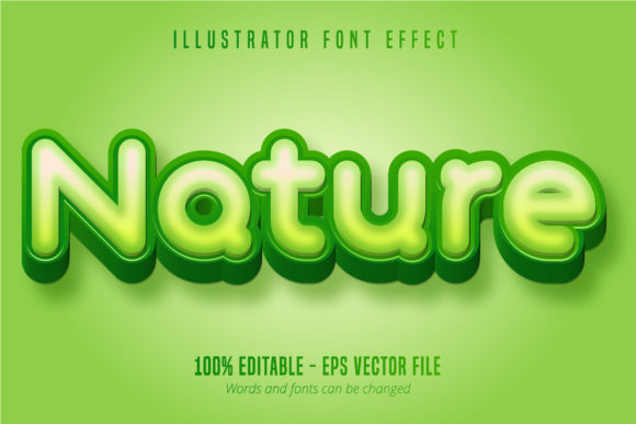 Print on Demand: Nature Text Effect, Editable Font Style Graphic Graphic Templates By Mustafa Bekşen