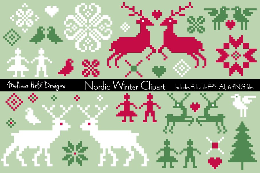 Download Free Nordic Winter Vector Clipart Graphic By Melissa Held Designs for Cricut Explore, Silhouette and other cutting machines.